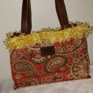 WN Zag bag multicolored fabric bag w/ fringed top